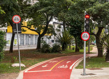 Cycle route red traffic light signs in Brazil Stock Photo