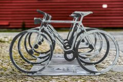 Cycle-shaped bike stand, Stavanger street. Stock Image