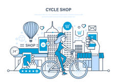 Cycle shop. Purchasing goods, ordering, payment, delivery, rating of goods. Cycle shop concept. Process of purchasing goods from the selection, evaluation Stock Image