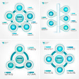 Cycle target process step diagrams collection. Infographic vector template for reports, plans, presentation. Stock Photo