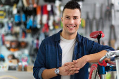 Cycle technician in workshop Stock Image