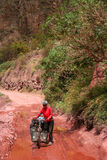 Cycle touring in China. Woman on a cycle touring trip in Yunnan Province, China stock images