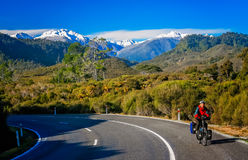 Cycle touring in New Zealand Royalty Free Stock Image
