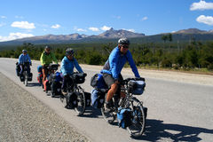 Cycle touring in Patagonia. Group of friends cycle touring in the southern Patagonia in Argentina Royalty Free Stock Photo