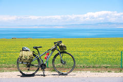 Cycle touring. In Qinghai Lake in China royalty free stock photos