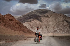 Cycle touring in Tibet Royalty Free Stock Images