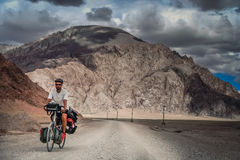 Cycle touring in Tibet Royalty Free Stock Image