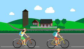 Cycle tourism. the people traveling in the country. vector illustration Royalty Free Stock Photos