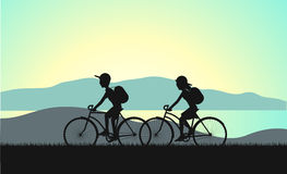 Cycle tourism summer sunset illustration Stock Photos