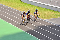 Cycle track, junior competitions, cyclists Royalty Free Stock Photos