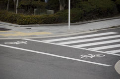 Cycle track markings in a city Royalty Free Stock Images