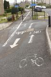 Cycle track markings painted on the footway Royalty Free Stock Image