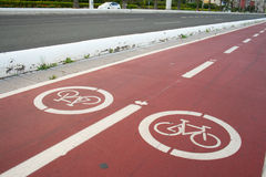 Cycle tracks by road Stock Image