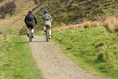 Cycle trip in highlands, touri. Tourists, cycle trip in scottish highlands, bikers, outdoor activity Stock Photo