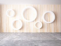 Cycle of white color on the wood wall Stock Image