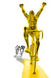 Cycle winner silhouette. Winner is golden Royalty Free Stock Images