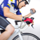 Cycler riding on bicycle Stock Images