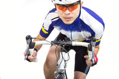 Cycler riding on bicycle Stock Photo