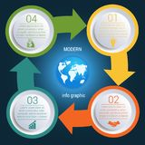 Cycles arrows  Infographic 4 positions map earth Stock Image
