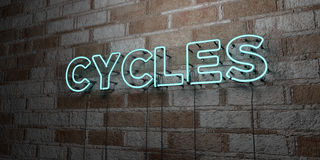 CYCLES - Glowing Neon Sign on stonework wall - 3D rendered royalty free stock illustration Royalty Free Stock Photography