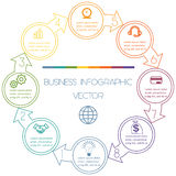 Cycles Infographic eight positions. Circles with arrow Infographic Cyclic Process from colourful lines with text areas on eight positions Royalty Free Stock Images