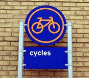 Cycles parking sign. Royalty Free Stock Image