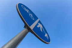Cycles and pedestrians track road sign Royalty Free Stock Photography