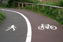 cycleway footwaysplit Royaltyfria Bilder