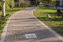Cycleway signposted en jordning som var bikeway för cyklister Cykla gränden mellan träd i Jardin del Turia i Valencia Spain Royaltyfri Foto