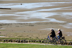 Cycleway at the Wadden Sea on the Island of Sylt Stock Photos
