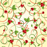Cyclic background with a holly berry. Illustrated Stock Photography