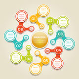 Cyclic diagram with eight steps and icons. Stock Photo