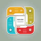 Cyclic diagram with four steps and icons. Stock Photo