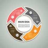 Cyclic diagram with four steps and icons. Royalty Free Stock Images