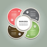Cyclic diagram with four steps and icons. Royalty Free Stock Photography