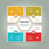 Cyclic diagram with four steps and icons. Infographic vector background. eps 10 Stock Photos