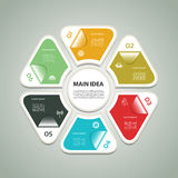 Cyclic diagram with six steps and icons. Stock Photo