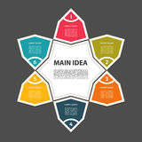 Cyclic diagram with six steps and icons. Eps 10 Royalty Free Stock Images