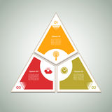 Cyclic diagram with three steps and icons. Stock Images