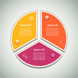 Cyclic diagram with three steps and icons. Stock Photo