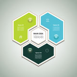Cyclic diagram with three steps and icons. Infographic vector background. eps 10 stock illustration