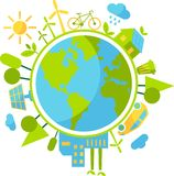 Cyclic ecology concept. Planet earth with buildings, trasport and nature elements in flat style Stock Image