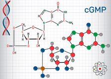 Cyclic guanosine monophosphate cGMP  molecule. Sheet of paper Stock Photos