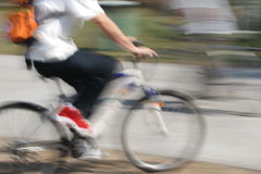 Cycling 1. A young person cycling in Hong Kong Stock Photography