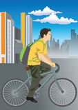 Cycling. Vector illustration of Cycling with city skyline royalty free illustration