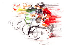 Cycling. Group of cyclists racing in competition Stock Photography