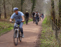 Cycling. Cyclists on a cycle path stock photography
