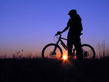 Cycling. Mountain biker girl stock photography