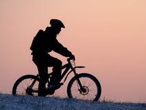 Cycling. Mountain biker - snowrider stock images