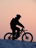 Cycling. Mountain biker - snowrider Stock Photo